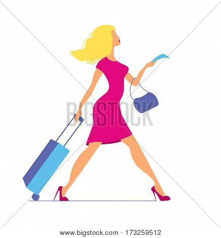 Young woman with suitcase at airport or train station. Woman with baggage and ticket