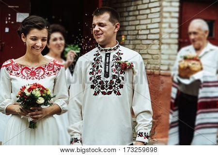 Elegant Gorgeous Brunette Bride And Groom Getting Blessings