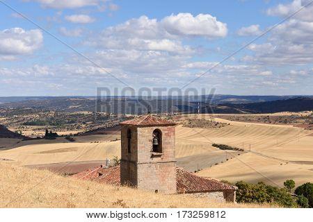 Bell tower of Santa Maria del Rey Church Atienza Guadalajara province Castilla La Mancha Spain