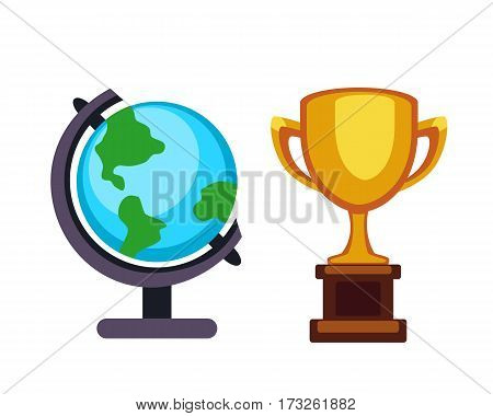 Vector trophy champion cup and earth globe flat icon. Winner trophy award and victory prize. Sport success and best win golden leadership award competition illustration.