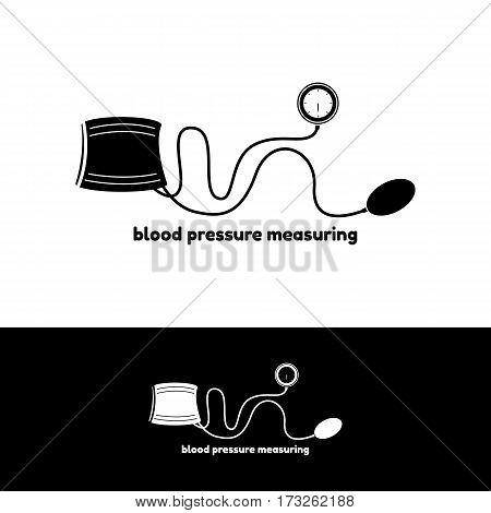 Blood pressure measuring logo. Vector illustration health concept