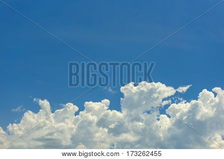 Close up of white clouds and blue sky