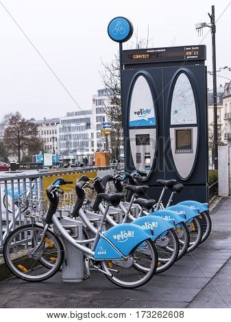 Grand Duchy of Luxembourg Luxembourg- January 032017: Bicycle rental service