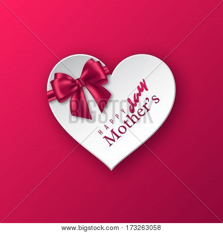 Happy Mother's day greeting card banner. Realistic paper heart with silk bow. Vector illustration.