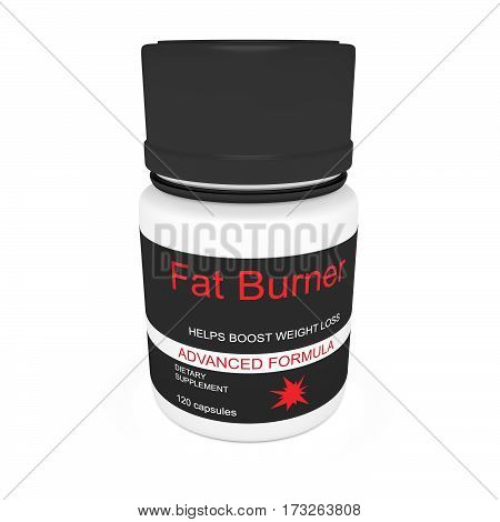 Diet Concept: Black Pill Bottle Fat Burner Weight Loss 3d illustration isolated on white background