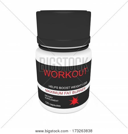 Diet Concept: Black Pill Bottle Workout As Fat Burner 3d illustration isolated on white background