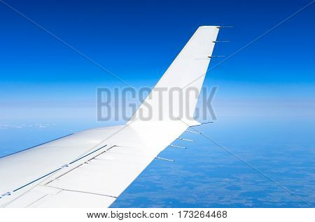 Wing and winglets flying in the sky