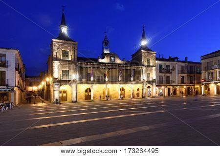 Night at the main square of El Burgo de Osma Soria province Castilla-Leon Spain