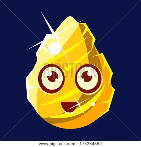 Golden Egg-Shaped Cute Fantastic Character With Big Eyes Vector Emoji Icon. Video Game Template Item For Magic Flash Game Design Constructor Isolated Cartoon Object.
