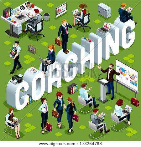 Coaching Group of Diverse Isometric Business People. 3D meeting infograph crowd with standing walking casual people icon set. Coaching lot collection vector illustration