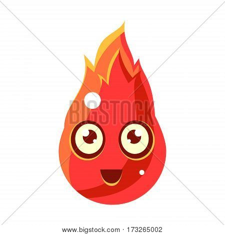 Red Fire Element In FlamesEgg-Shaped Cute Fantastic Character With Big Eyes Vector Emoji Icon. Video Game Template Item For Magic Flash Game Design Constructor Isolated Cartoon Object.