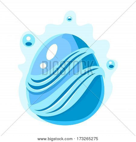 Blue Egg With Bubbles And Stripes, Fantastic Natural Element Egg-Shaped Bright Color Vector Icon. Video Game Template Item For Magic Flash Game Design Constructor Isolated Cartoon Object.