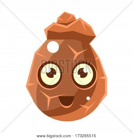 Brown Cracked Rock Element Egg-Shaped Cute Fantastic Character With Big Eyes Vector Emoji Icon. Video Game Template Item For Magic Flash Game Design Constructor Isolated Cartoon Object.