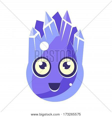 Blue Crystal Ice Element, Egg-Shaped Cute Fantastic Character With Big Eyes Vector Emoji Icon. Video Game Template Item For Magic Flash Game Design Constructor Isolated Cartoon Object.
