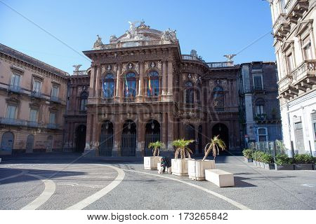 CATANIA ITALY - JANUARY 01: View of Teatro Bellini Catania's Theatre on January 01 2017