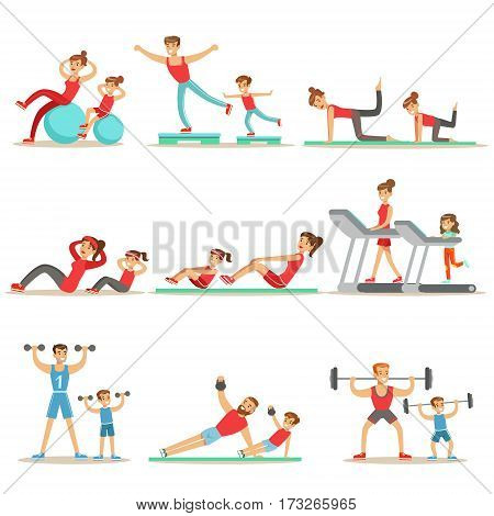 Parent And Child Doing Sportive Exercises And Sport Training Together Having Fun Series Of Scenes. Cartoon Characters Enjoying Physical Activity With Kids Doing Similar Workout In Gym And Outdoors.