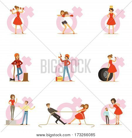 Woman In Red Dress Taking On Traditional Male Roles And Exchanging Places With Man, Series Of Feminism Illustration And Female Power. Feminist Girl Cartoon Characters Dominating Over Male Collection Of Cartoon Drawings.