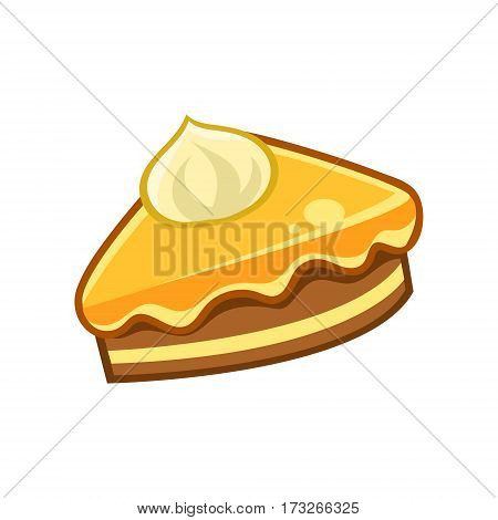 Piece Of Chocolate And Caramel Cake, Food Item Outlined Isolated Childish Icon For Flash Game Design Or Slot Machine. Eatable Element Of Farming Video Game For Children Cartoon Vector Illustration.
