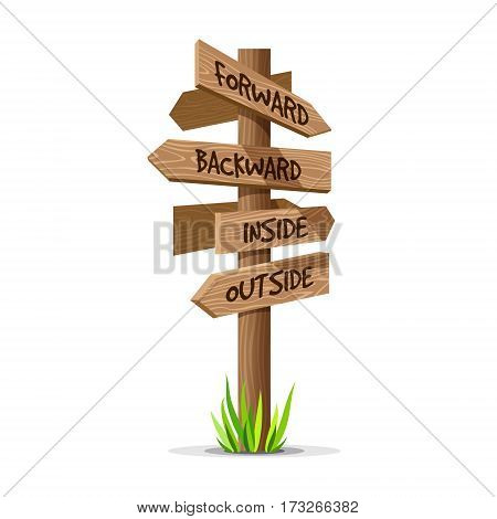 Wooden arrow vector direction signboard. Wood sign post concept with grass. Board pointer illustration with text isolated on a white background