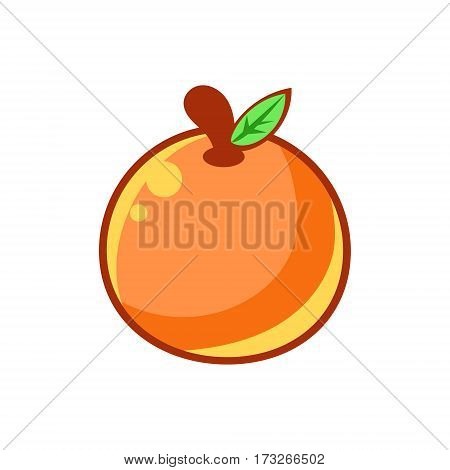 Orange Citrus Fruit, Food Item Outlined Isolated Childish Icon For Flash Game Design Or Slot Machine. Eatable Element Of Farming Video Game For Children Cartoon Vector Illustration.