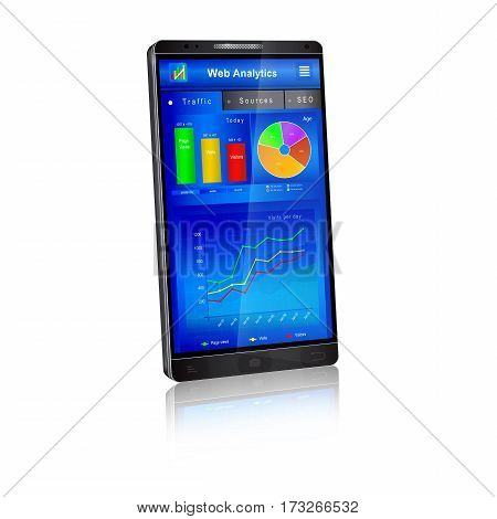 Web analytics charts and graphs on smartphone screen. Mobile application: dashboard of webmaster real time website visitors traffic statistics. Vector illustration isolated on white background.
