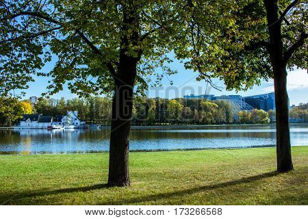 In the park by the lake in autumn