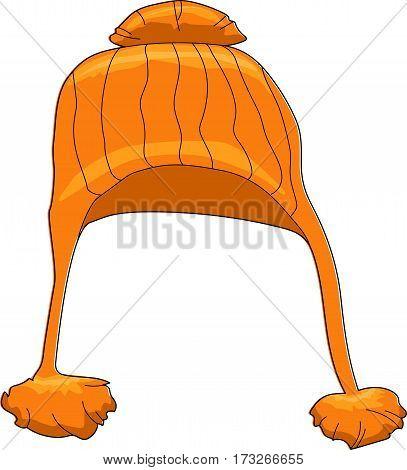 An orange knit cap on a white background.