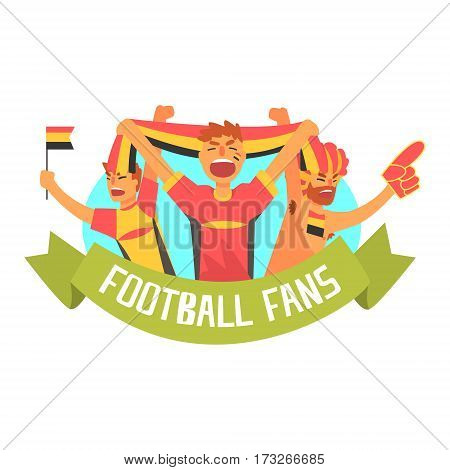 Cheering Happy Supporting Crowd Of National German Football Spots Team Fans And Devotees With Banners And Attributes. Sportive Support Team With Flags Screaming And Smiling On A Stadium Vector Illustration.