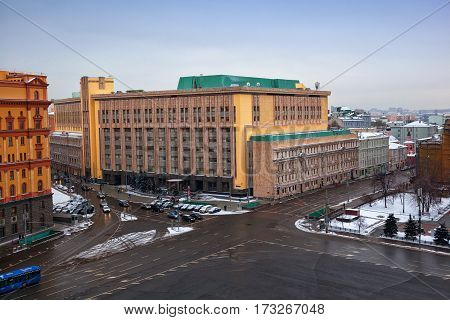 MOSCOW, RUSSIA - JAN 04, 2017: View of the Lubyanka Square in central Moscow