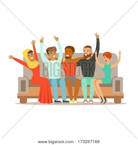 Young Friends From All Around The World Cheering On Sofa, Happy International Friendship Vector Cartoon Illustration. People Of Different Nationalities Smiling United Showing Peace Gesture.