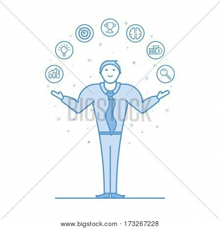 Vector illustration of acrobat businessman in flat bold linear style. Man juggling with smile on his face. Concept of business, marketing, seo, e commerce, office work - outline stock objects.