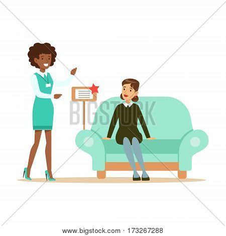 Store Seller Showing Blue Sofa To Woman, Smiling Shopper In Furniture Shop Shopping For House Decor Elements. Cartoon Characters Looking For Home Interior Design Items In Shopping Mall.