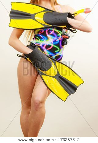 Woman With Flippers And Snorkeling Mask