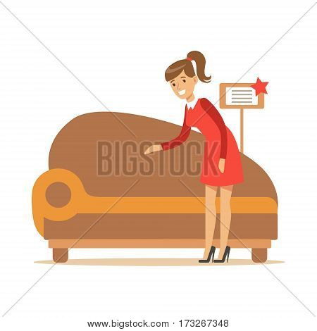 Woman Buying Classy Brown Sofa, Smiling Shopper In Furniture Shop Shopping For House Decor Elements. Cartoon Character Looking For Home Interior Design Items In Shopping Mall.