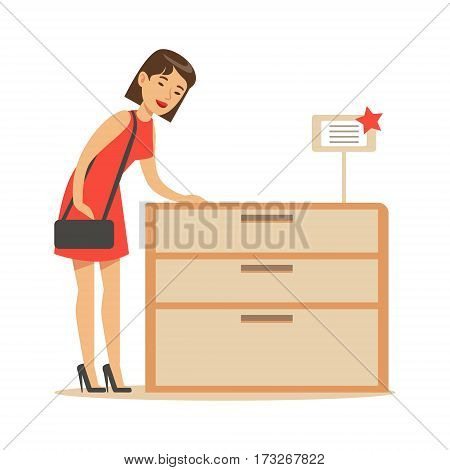 Woman Buying A Wooden Dresser, Smiling Shopper In Furniture Shop Shopping For House Decor Elements. Cartoon Character Looking For Home Interior Design Items In Shopping Mall.
