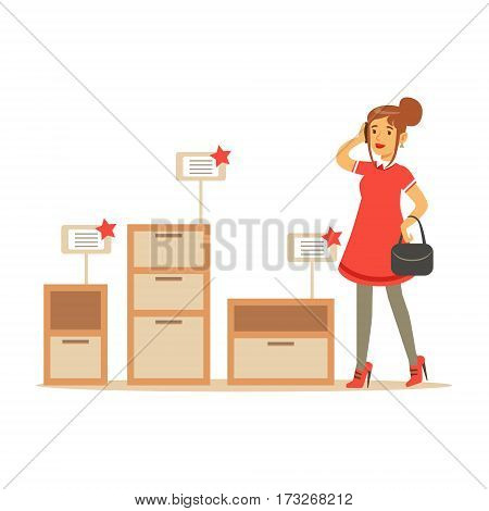 Woman Choosing A Night Stand With Drawer, Smiling Shopper In Furniture Shop Shopping For House Decor Elements. Cartoon Character Looking For Home Interior Design Items In Shopping Mall.