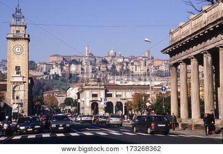 Bergamo,Italy - 26 May 2014: The town of Bergamo on Italy