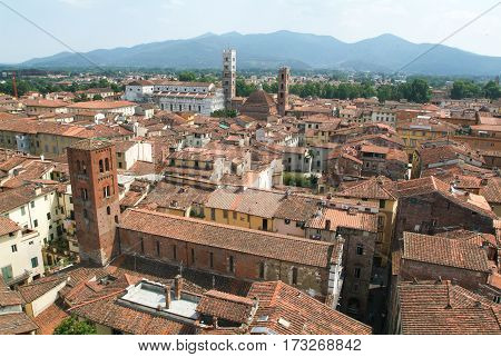 Lucca, Italy - 18 June 2006: Overview at the old part of Lucca on Italy