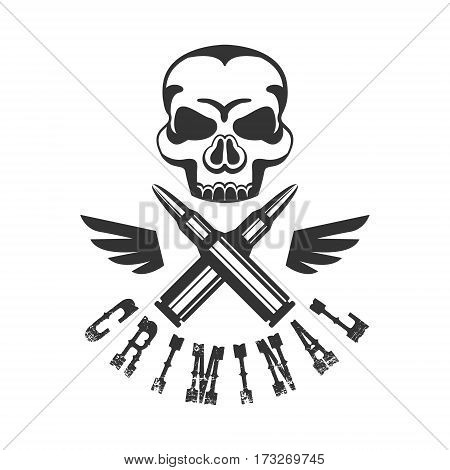 Criminal Outlaw Street Club Black And White Sign Design Template With Text , Wings And Scull Monochrome Vector Emblem With Ghetto Symbols For Prints And Stencils.
