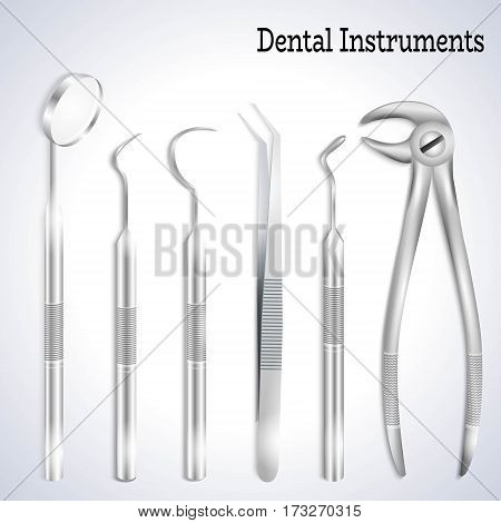 Teeth dental medical equipment steel tools set realistic vector illustration.Dental explorer, Dental probe, Mouth mirror, Dental forceps, Medical Tweezers, Dental Pick-3d realistic set for medical brochure