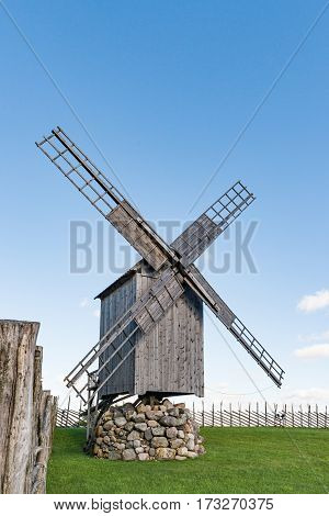 Angla Island of Saaremaa Estonia -27th of August 2016: The Heritage Culture Centre of Angla Windmill Park Saaremaa Estonia. Angla windmills are typical trestle windmills characteristic of Island Saaremaa built in the beginning of the 20th century.