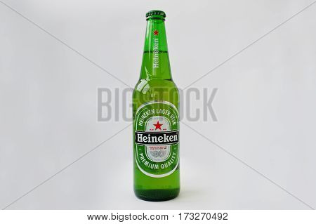 Dusseldorf, Germany - February 18, 2017: Bottle Of Heineken Beer On White Background.
