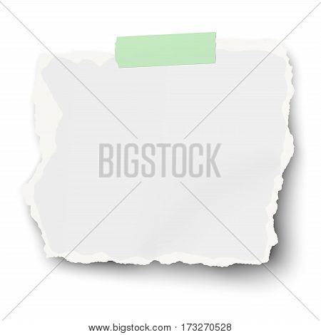 Vector square ragged paper scrap with torn edges and soft shadow on sticky adhesive tape isolated on white background. Template design.