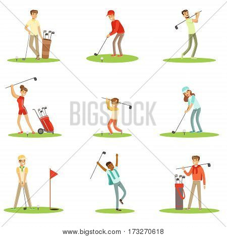 People Playing Golf On Grass, Striking The Ball With Club Set Of Smiling Characters Enjoying Gulf Game Outside In Summer. Amateur Golf Players On The Field Cartoon Illustrations With Happy Men And Women.