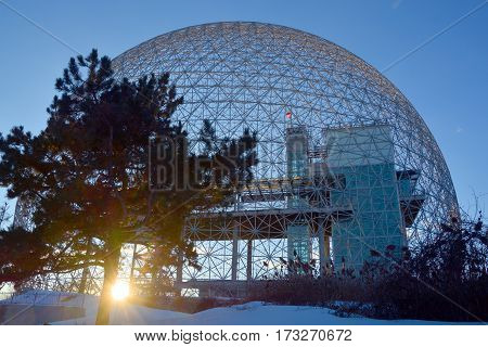 MONTREAL-CANADA 02 13 2017: Biosphere is a museum in Montreal dedicated to the environment. Located at Parc Jean-Drapeau in the former pavilion of the United States for the 1967 World Fair, Expo 67.