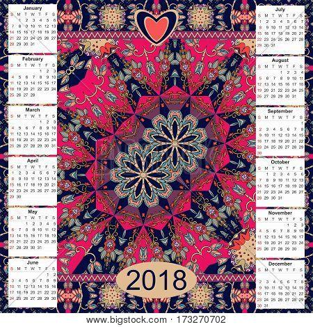 Calendar 2018. Vintage decorative elements. Ornamental floral background. Ethnic motifs. Oriental double mandala pattern Vector illustration. Week starts on sunday.