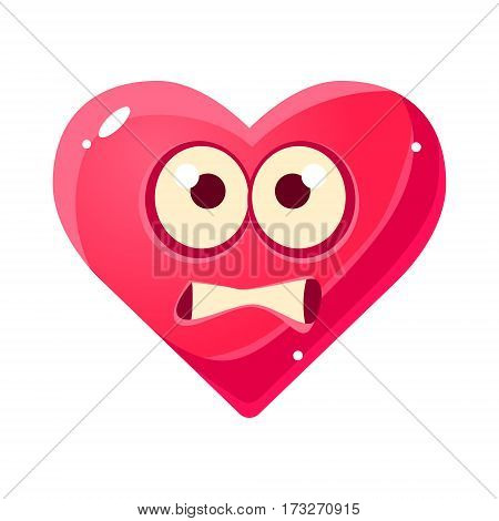 Scared Emoji, Pink Heart Emotional Facial Expression Isolated Icon With Love Symbol Emoticon Cartoon Character. Simple Heart-Shaped Face With Emotion Vector Sticker For Social Networks.