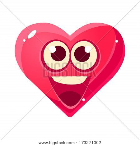 HAppy And Excited Emoji, Pink Heart Emotional Facial Expression Isolated Icon With Love Symbol Emoticon Cartoon Character. Simple Heart-Shaped Face With Emotion Vector Sticker For Social Networks.