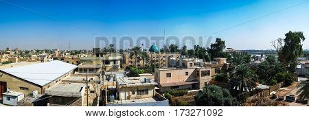 Aerial Panorama cityscape view to Baghdad Iraq