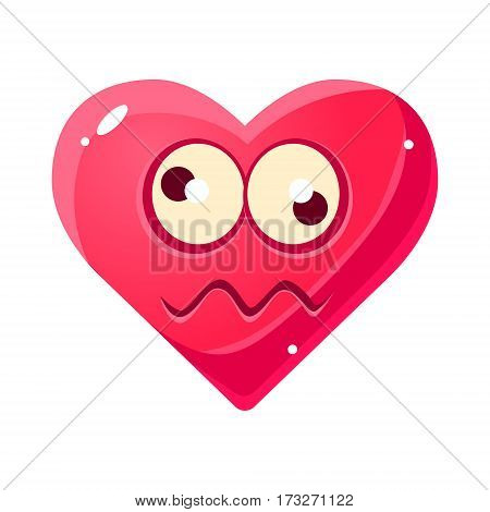 Dizzy Emoji, Pink Heart Emotional Facial Expression Isolated Icon With Love Symbol Emoticon Cartoon Character. Simple Heart-Shaped Face With Emotion Vector Sticker For Social Networks.